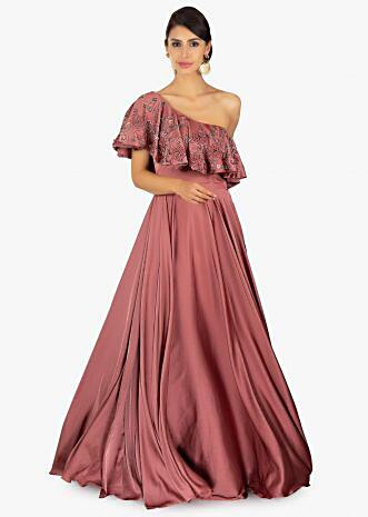 Rose wood one shoulder A line satin gown