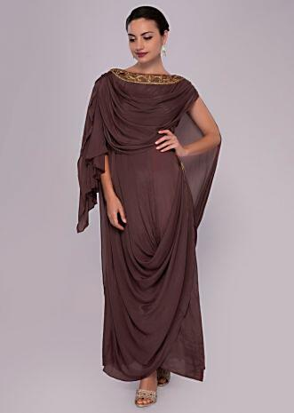 Rose wood tunic dress with multiple cowl drape