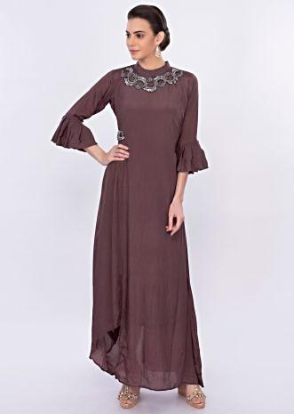 Rosewood pink asymmetric santoon tunic dress with applique work only on Kalki
