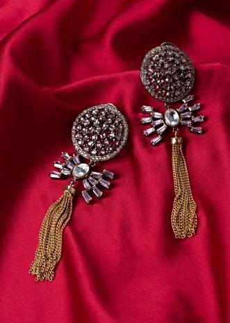 Round stone studded cluster earring with multiple chain string drop only on Kalki