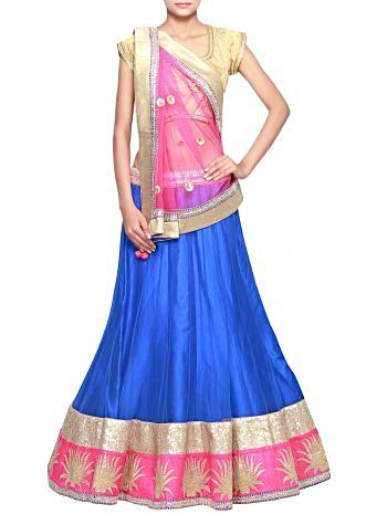 Royal blue lehenga adorn in sequence embroidery only on Kalki