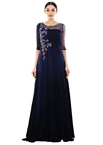 Royal Blue Long Dress With Attached Dupatta