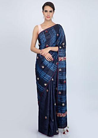 Royal blue tussar silk saree with multi color floral butti and batik print pallo only on Kalki