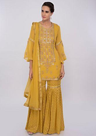 Royal yellow georgette sharara suit set with embroidery only on kalki