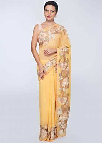 Royal yellow georgette saree with net embroidered border only on Kalki