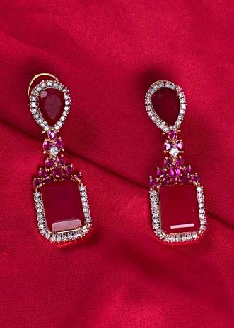 Ruby and diamond drop earring only on kalki