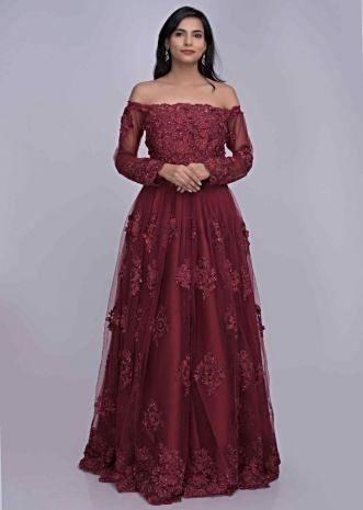 a4d5e7e38d Ruby red off shoulder ethnic gown in embroidered net only on Kalki