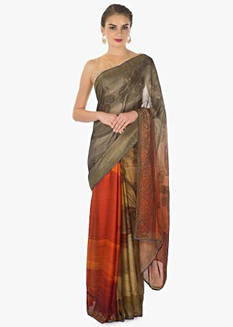 Rust and olive green shaded  printed satin saree
