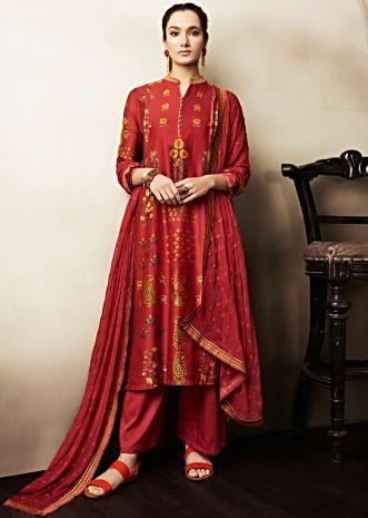 Rust unstitched suit in cotton with floral butti and printed collar