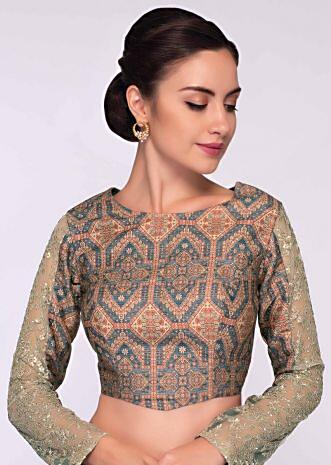 Rustic brown kalamkari printed blouse  with net embroidered sleeves