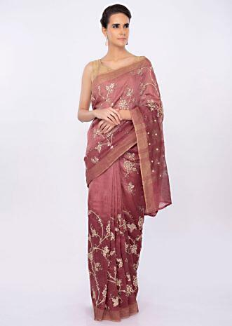 Rustic pink linen saree in floral jaal embroidery only on kalki