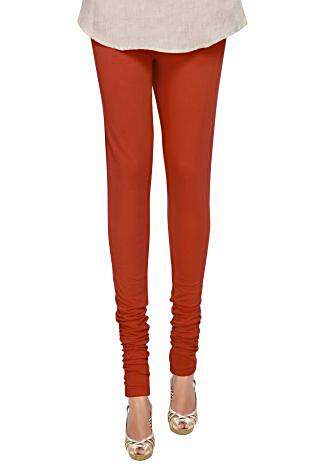 d3e278dd373fe7 Rusty Red Cotton Hosiery Legging Featuring a Skin Fit only on Kalki