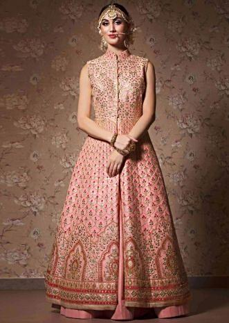 Sachet pink long silk jacket in gotta patch work matched with lehenga