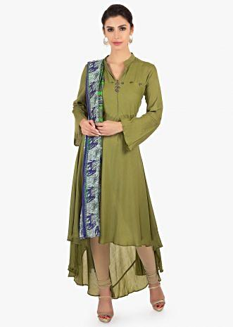 Sage green front short  back long cotton suit paired with printed dupatta