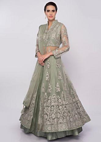 92b44fd87b2f3 Sage green lehenga with long net embroidered top only on Kalki ...