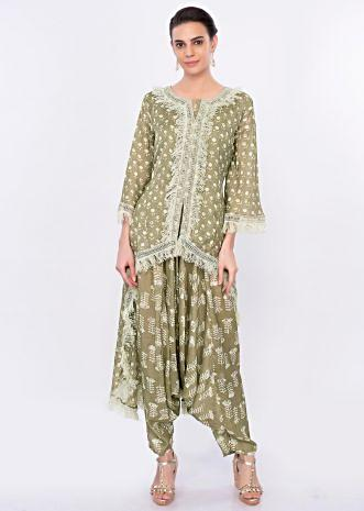 Sage green printed dhoti and top with crochet and fringes only on Kalki