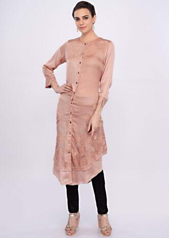 Peach satin silk kurti with multi color french knot and thread embroidery only on Kalki