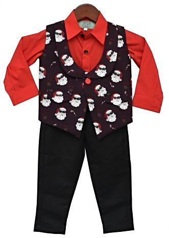 Santa Claus Print Waist Coat with Pant and red Shirt By Fayon Kids