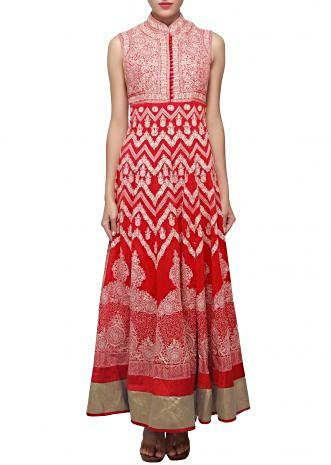Scarlet red suit enhanced in thread embroidery only on Kalki