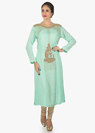 Sea green cotton kurti with moti work all over only on Kalki
