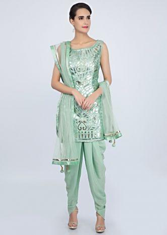 Sea green dhoti suit set in applique work only on Kalki