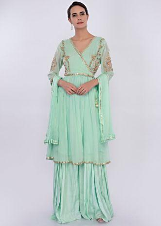 Sea green georgette sharara suit set  only on Kalki