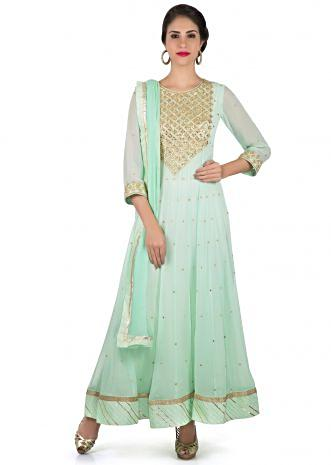 Sea blue anarkali suit in georgette with sequin embroidered placket only on Kalki