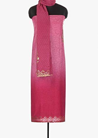 Shaded foil print pink unstitched cotton suit only on Kalki