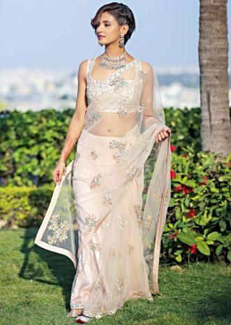 db302e237 Shakti Mohan in Kalki powder pink net saree with floral embroidered butti  ...