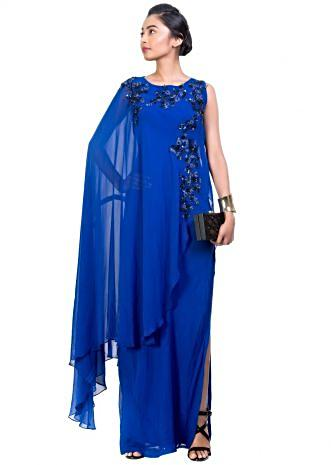 Side Layer Electric Blue Cape Gown
