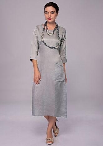 Silver grey cotton silk kurti with 2 front pocket