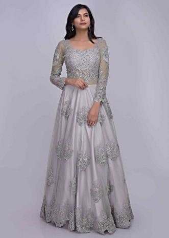 153d757ced Silver grey ethnic gown in embroidered net fabric with back trail only on  Kalki