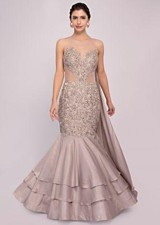 Silver grey fish cut satin net gown