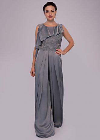 Silver grey satin jumpsuit with net embroidered bodice