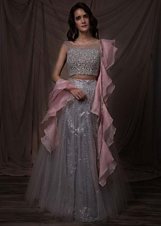 Silver grey sequins embroidered net lehenga set with pink organza ruffled dupatta only on kalki