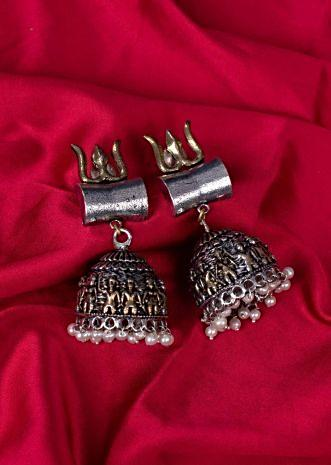 Silver plated oxidized temple jhumkas only on Kalki