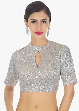 Silver sequins high neck blouse with front in key hole
