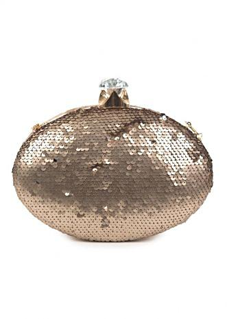 Silver Clutch in oval shape featuring in sequin work