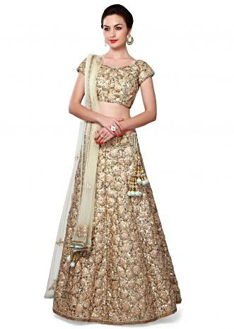 Sky blue and gold lehenga adorn in zari and sequin embroidery only on Kalki