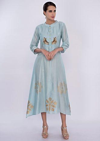 Sky blue cotton kurti with butti only on Kalki
