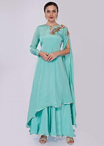 Sky blue double layer tunic dress featuring in satin crepe