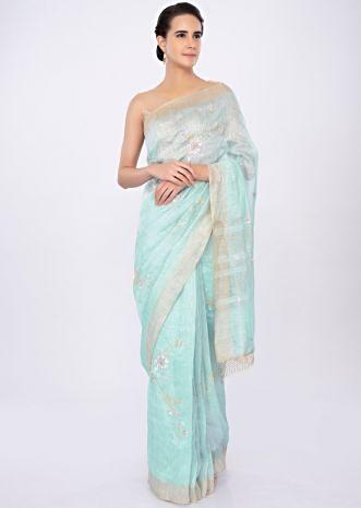 Sky blue linen saree in floral jaal embroidery only on kalki