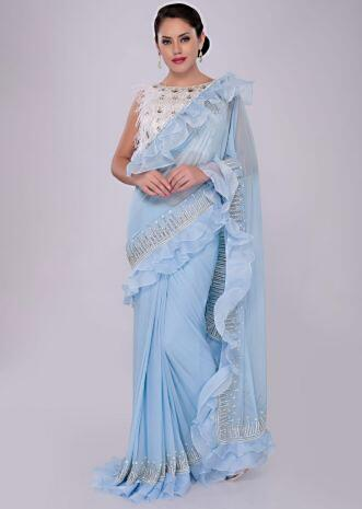 Sky blue lycra saree with ruffled organza border