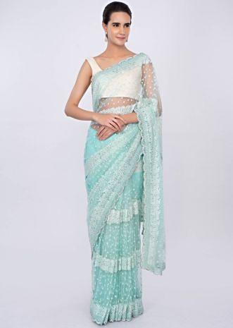 Sky blue net saree with moti, self resham and stone embroidery only on kalki
