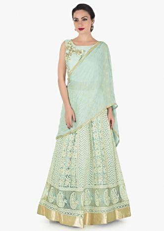Mint blue anarkali suit in lucknowi thread work and attached dupatta only on Kalki