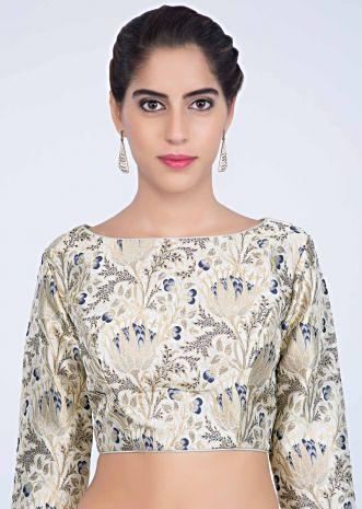 82e9473b1b15a3 Slate grey brocade silk blouse with floral jaal embroidery only on kalki ...