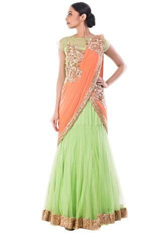 Spring Green Gown Saree With Tangerine Palla