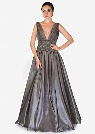 Steel Grey Shimmer Organza Gown with Pin Tucks and Embroidery Only on Kalki
