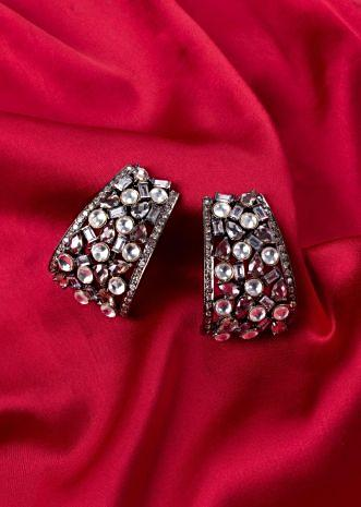 Stone plated curve drop earring with stones only on Kalki