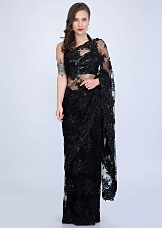57a3542bd81eac Stunning Black chantilly lace saree embellished with sequins, cut dana and  pearls only on Kalki